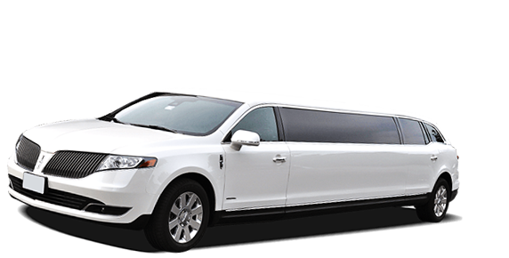 side view of white stretched limo
